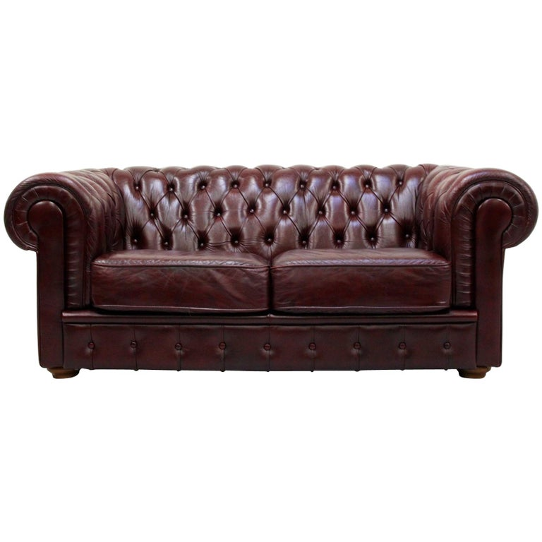 4417829cedb7 Chesterfield English Sofa Leather Antique Vintage Couch Chippendale For Sale