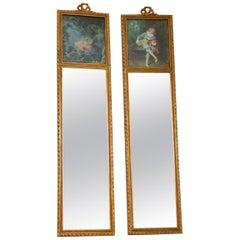 Pair of Antique Decorative Giltwood Mirrors