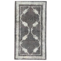 Vintage Painted Persian Carpets, over Dyed Grey Rug, Brown Area Rugs for Sale