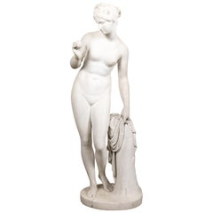 "Carved Marble Classical Figure of the Goddess Aphrodite Holding ""Golden Apple"""