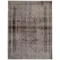 Vintage Painted Persian Rugs, over Dyed Grey Rug Carept, Area Rugs for Sale
