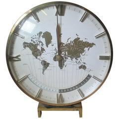 Kienzle Mid-Century Modern Brass and Glass World Time Zone Clock