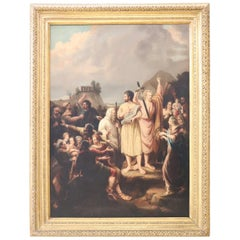 19th Century Italian Great Oil Painting on Canvas Biblical Scene with Frame