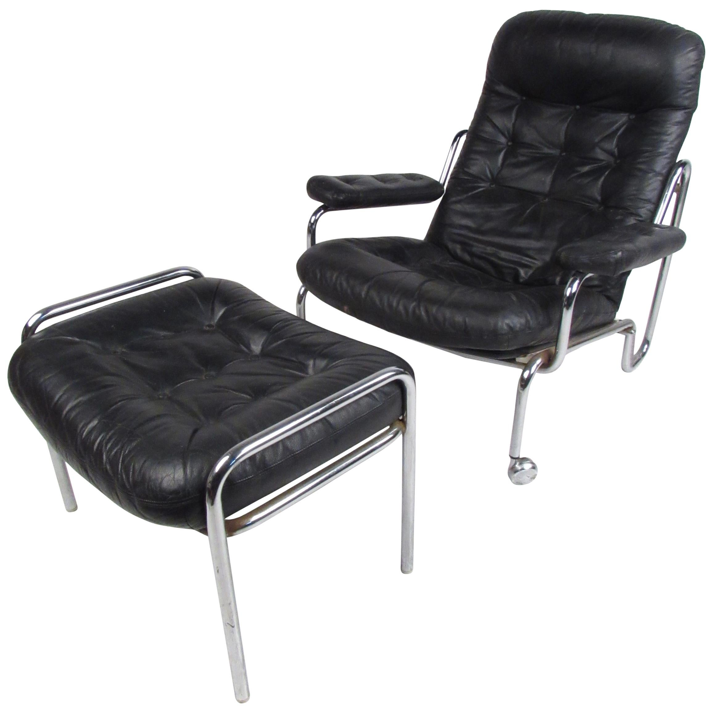 Mid-Century Modern Bruno Mathsson Lounge Chair and Ottoman by DUX