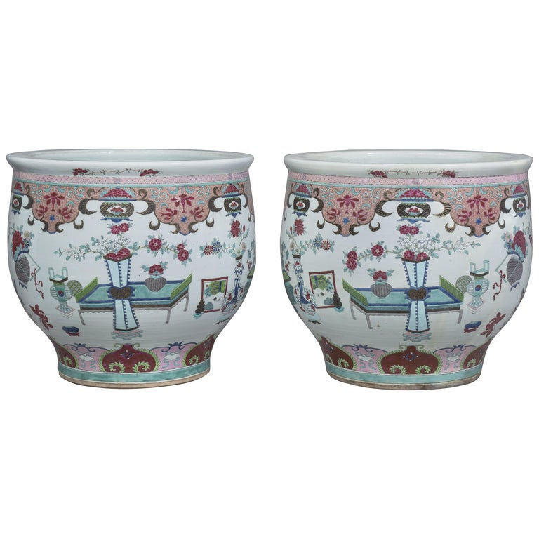 Pair of Chinese-Style Fish Bowls Attributed to Samson & Cie., circa 1890 For Sale