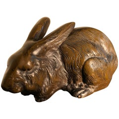 Fine Crouching Bronze Big Ear Rabbit from Japan, Fine Hair Details