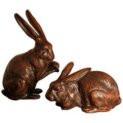 Fine Pair of Big Hand Cast Bronze Playful Rabbits from Old Japan, Best in Class