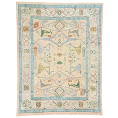 New Contemporary Turkish Oushak Rug with Memphis Style and Pastel Colors