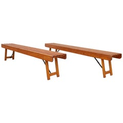 Vintage Folding Mailman's Wood Slat Bench