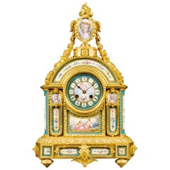 Elaborate Gilt Bronze and Sèvres-style Porcelain Mantel Clock, circa 1870