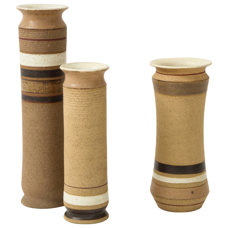 Bruno Gambone Set of 3 Ceramic Vases