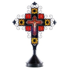 Cerámic Crucifix Whit Cristal and Iron Hand Forged Metal