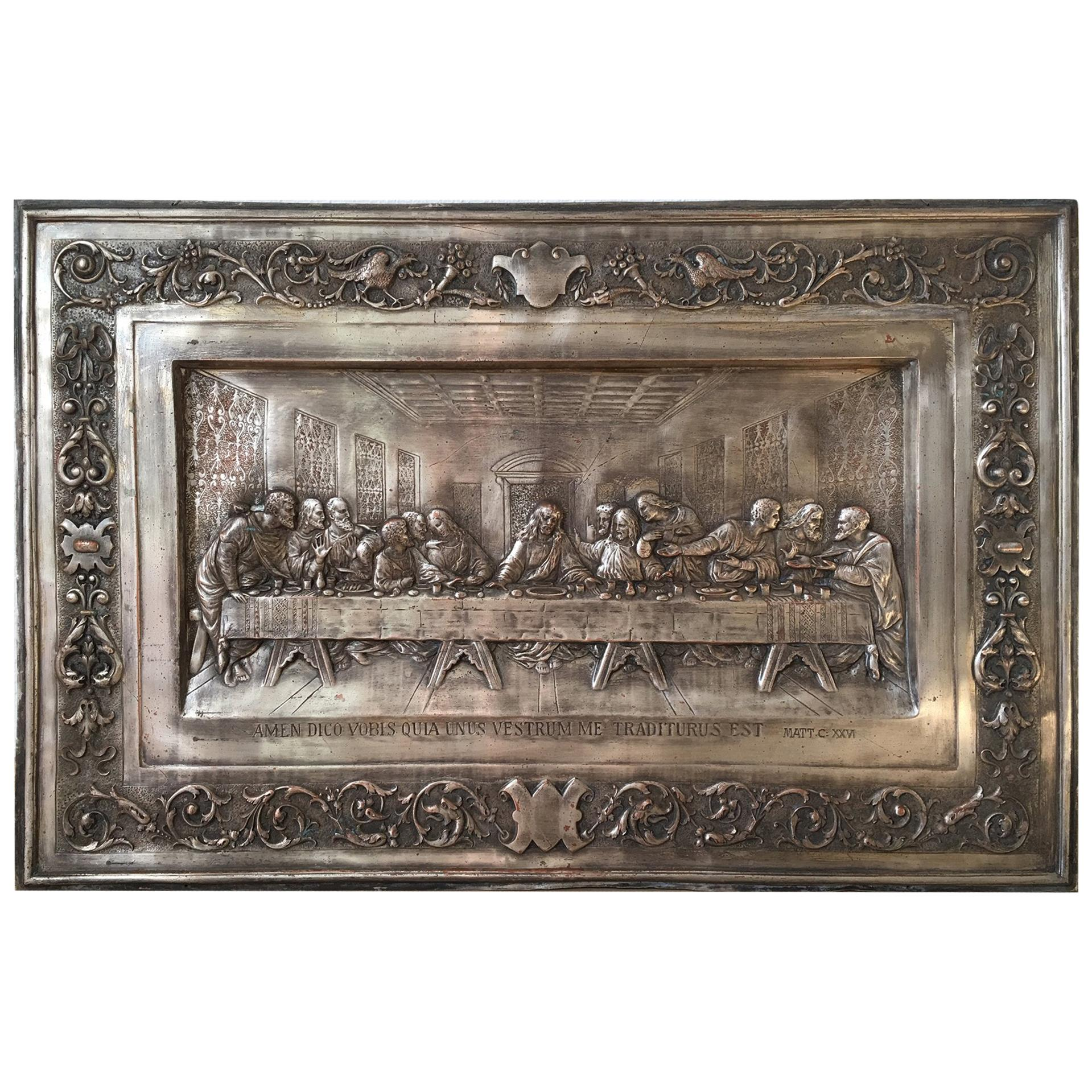 """20th Century """"the Last Supper"""" Metal Relief"""