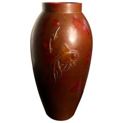 """Brilliant Japanese """"Gold Fish"""" Hand Cast Bronze Vase Signed and Boxed"""
