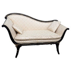 Regency Style Ebonized Settee
