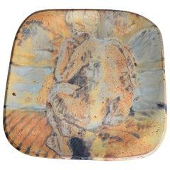 Midcentury Decorative Grès Porcelain Stoneware Plate, Centerpiece