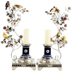 Pair of Handmade Candlesticks and Ceramica Birds and Flowers