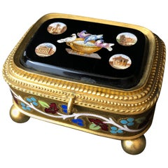 Cesare Roccheddiani Micro Mosaic Gilt and Enameled Jewel Box, Grand Tour