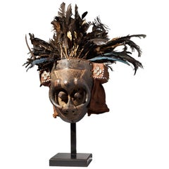 Feathered Ishyeen Imaalu Kuba Mask, Tribal Art