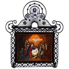 Cerámic Nativity and Iron Hand-Forged Metal