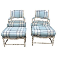 Pair of Country French Style Armchairs and Ottomans