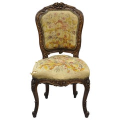 19th Century French Louis XV Style Carved Walnut Needlepoint Side Chair