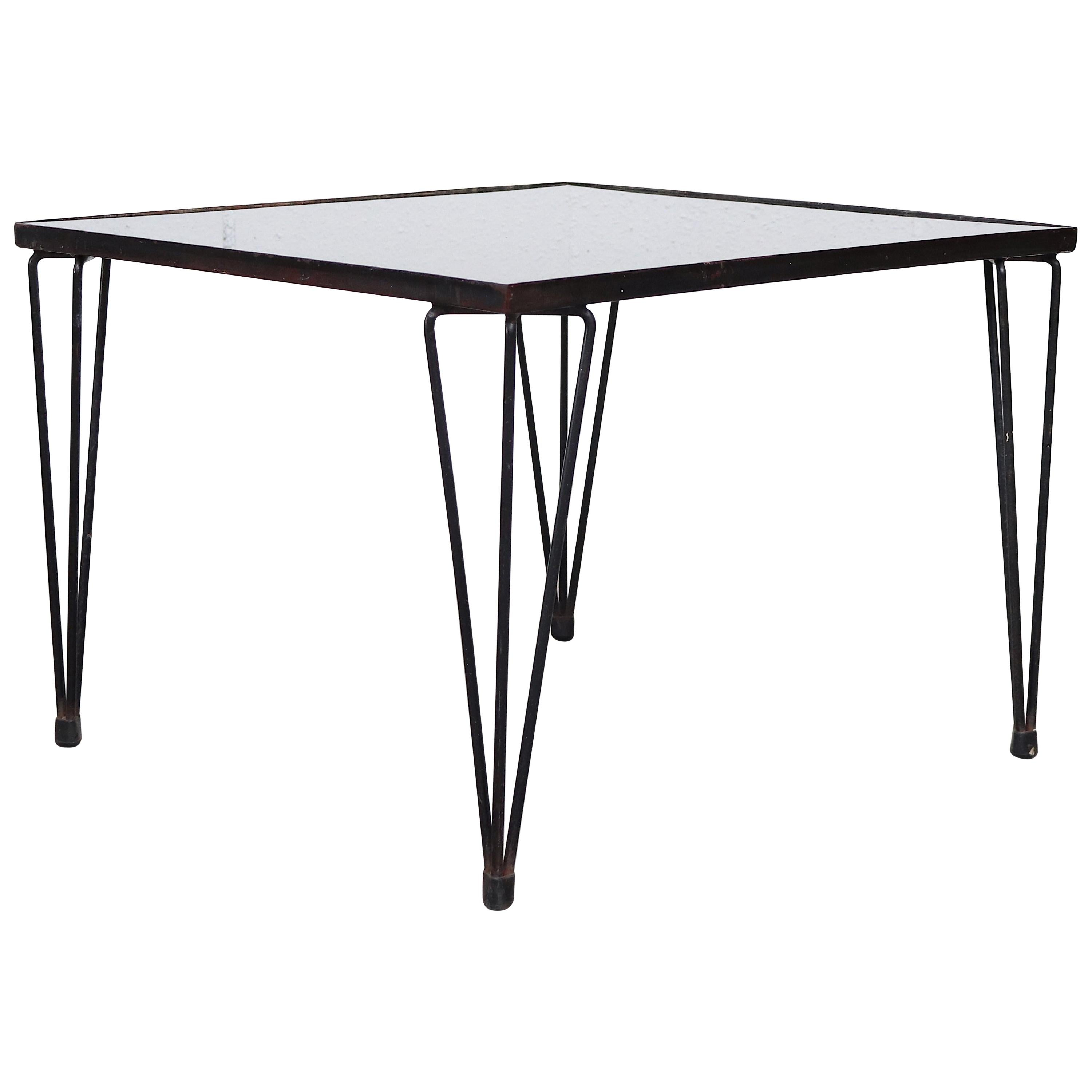 A. Bueno De Mesquita Style Black Glass Coffee Table with Hairpin Legs