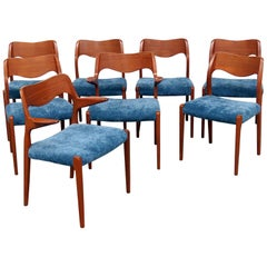 Set of 8 Teak Danish Modern Dining Chairs Attributed to Moller