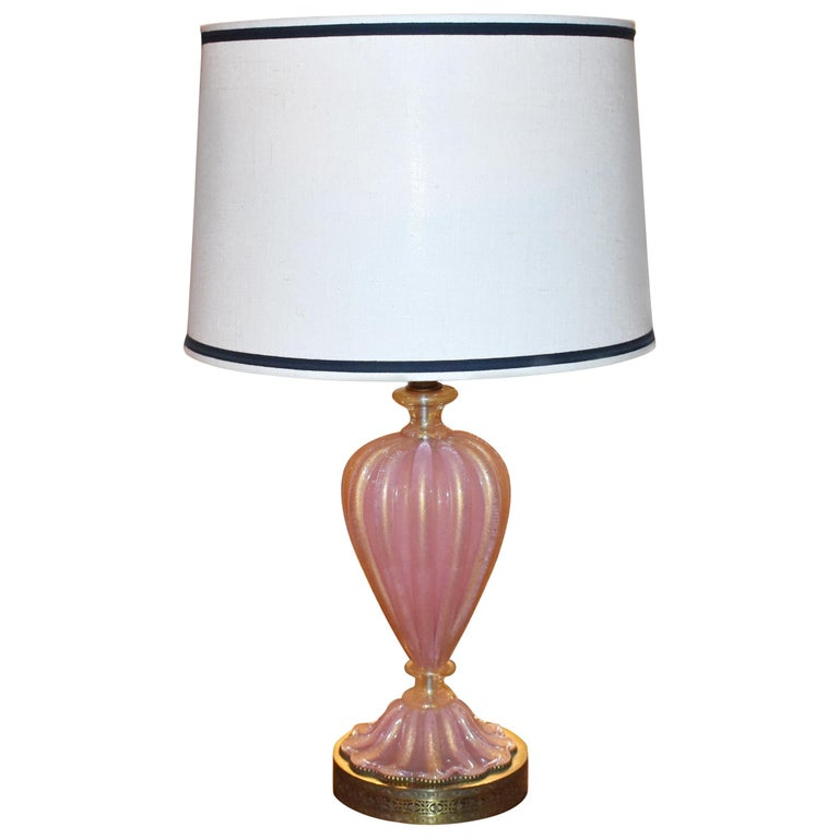 Gold Glass Table Lamp For At 1stdibs, Vintage Pink Satin Glass Lamp