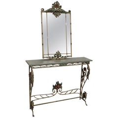 Paint Decorated Wrought Iron Italian Venetian Style Console and Mirror