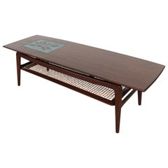"Webe ""Table No. 9"" Midcentury Tile and Teak Coffee Table with Magazine Shelf"