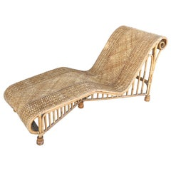 Superb 1920s Modern Rattan Daybed or Long Chair