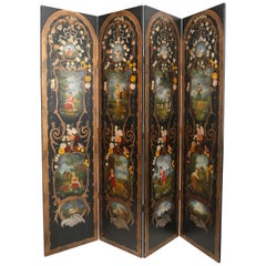 Superb Early 20th Century European Hand Painted Four-Fold Screen
