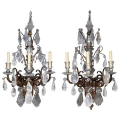 Pair of French Regence Bronze and Rock Crystal Sconces