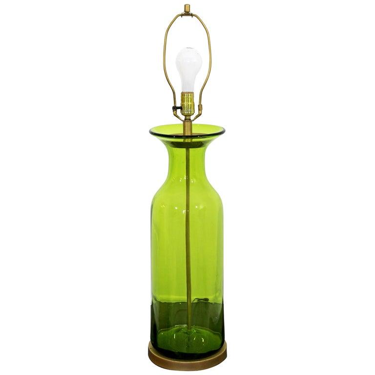 Mid Century Modern Massive Green Blenko Glass Table Lamp Brass