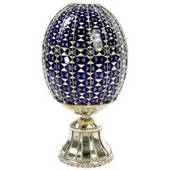 Blue and White Ceramic Egg and White Metal 'Alpaca', Handmade