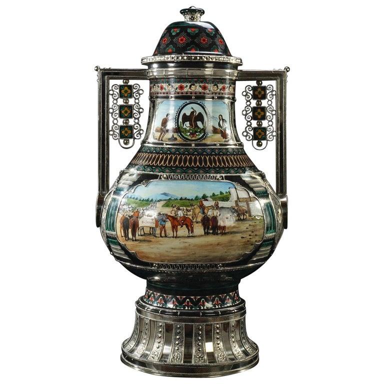 Mexican Jar, Ceramic and White Metal 'Alpaca', Handmade For Sale