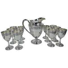 International Wedgwood Sterling Silver Set with Pitcher & 12 Goblets