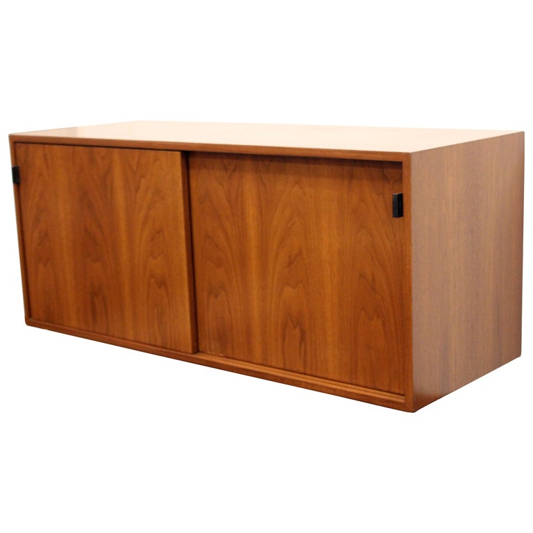Mid-Century Modern Florence Knoll Floating Hanging Wall Mount Cabinet Credenza For Sale