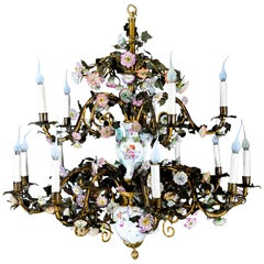 Spectacular Large Antique German Louis XVI Style Meissen Porcelain Chandelier