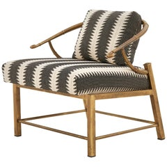 Chinoiserie Brass Lounge Chair Designed by Charles Pengally for Mastercraft