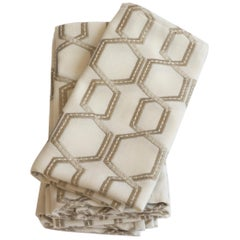 Linen Napkins with Embroidered Trellis Pattern