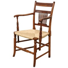 English Fruitwood Windsor Chair with Rush Seat, East Anglia, Rich Color