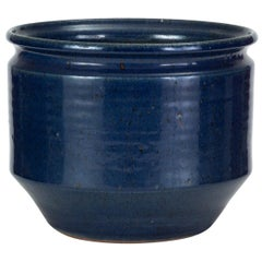 Pair of Blue-Glazed Earthgender Bowl Planters, David Cressey and Robert Maxwell