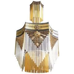 French Art Deco, Art Nouveau Amber Beaded & Glass Fringe Gilt 4-Light Chandelier