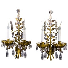 Pair of French Louis XVI Baguès Style Rock Crystal and Gilt Bronze Wall Sconces