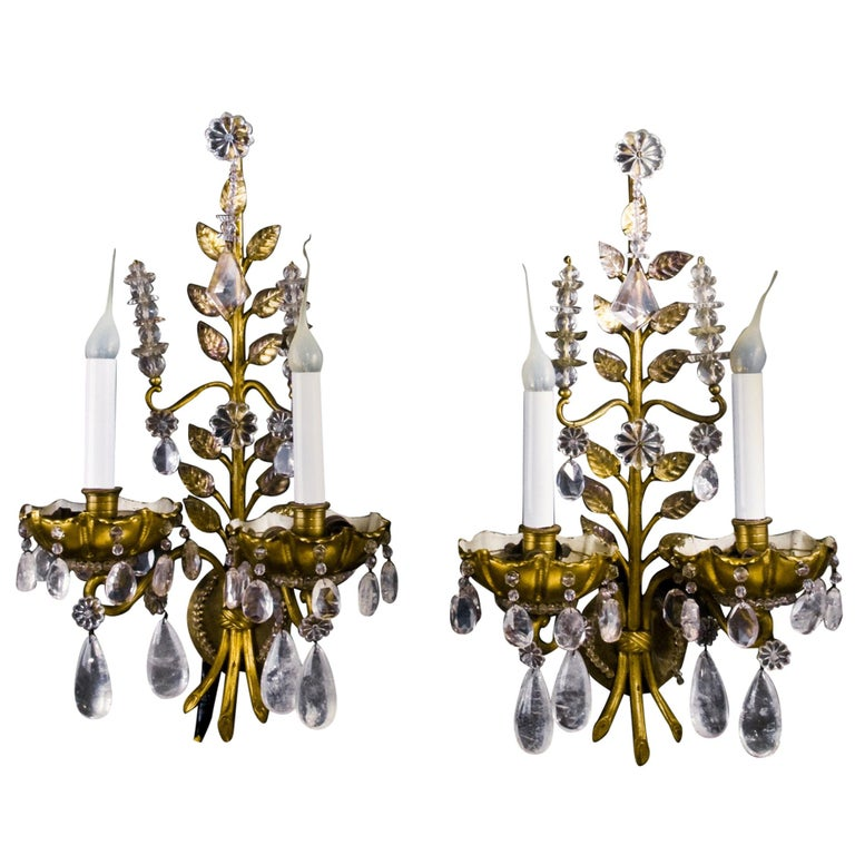 Pair of French Louis XVI Baguès Style Rock Crystal and Gilt Bronze Wall Sconces For Sale