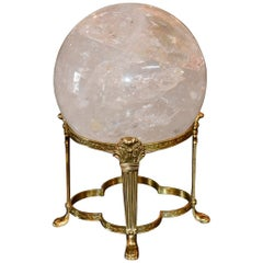 Large Round Rock Crystal Sphere on Brass Stand