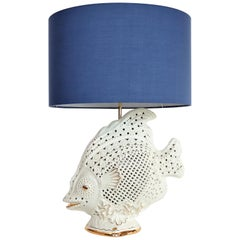 Italian Midcentury Big Ceramic Fish Lamp with Brass Details, 1960s