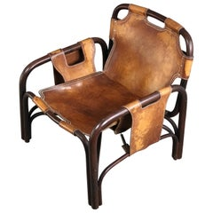 Italian Armchair in Leather and Bamboo Made by Bonacina, Italy, 1960s